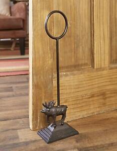 Door Stop Cast Iron Heavy Antique Deer Stopper Indoor Covered Porch Tall Handle