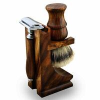 3Pc Travel Shaving Wooden Starter Kit, Silvertip Brush, DE Razor, Stand Wood New