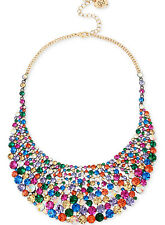 $195 Betsey Johnson CONFETTI Gold Tone Multicolor Crystal Statement Necklace NEW