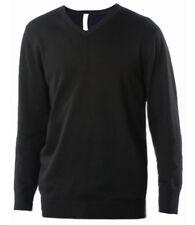 Kariban Cotton Acrylic V Neck Sweater Sleeve Mens Jumper Causal Fashion Long Black XL