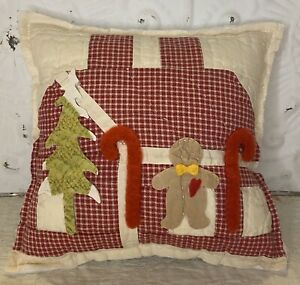NEW Handmade Gingerbread House Pillow  Vintage Quilt  Chenille Bedspread