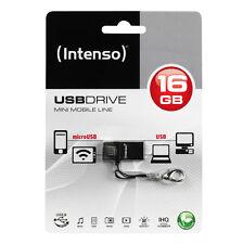 > MINI NANO CLE OTG MICRO + USB 16GO INTENSO / 16 go pour PC SMARTPHONE TABLETTE