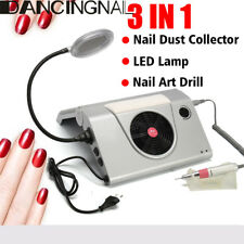 3in1 Pro Electric Nail Drill Art Dust Collector Suction Machine & 20W Power Lamp