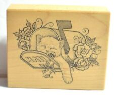 """Cat Rubber Stamp Kitty in Mailbox w/Roses Sleeping Kitten 2.75"""" 1994 PSX F-1257"""