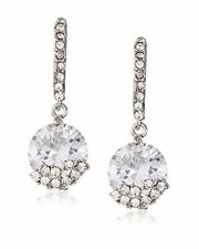 Kenneth Jay Lane Silver-Crystal Drop Wire Earrings