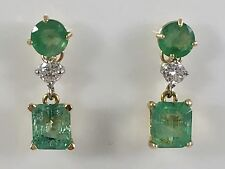 Untreated Colombian Emerald (2.28ctw) & Diamond 14kt Gold Dangle Earrings, New