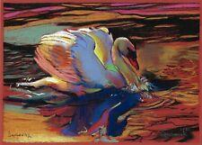 original drawing А4 114GZ art by samovar modern swan pastel Signed 2020