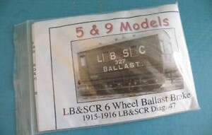 5 & 9 Models White Metal 4mm Kit - 1915 LB & SCR / SR 6 Wheel Ballast Brake Van