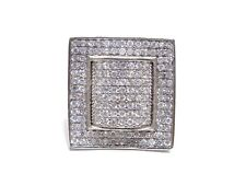Cubic Zirconia Prong Set Square Ring 15g Mens .925 Silver W/ Round Cut White