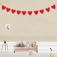 2.5M Garland Banner Red Love Heart  Flags Hanging Bunting Wedding Decor