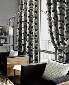 """CLEARANCE Silver Black Eden Eyelet Curtains Luxury Chenille Pairs  66"""" x 72"""""""