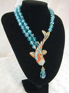 "HEIDI DAUS ""Big Fishy"" (Blue-Beaded/ Koi Fish) Necklace-(Orig.$240.00)-LAST ONE!"