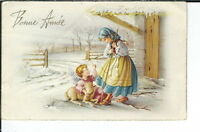 AX-176 - Bonne Annee, Artist Signed, 1907-1915 Golden Age Postcard Children