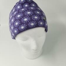 Womans Polartec Bula Ski Hat Purple Snowflake Flower