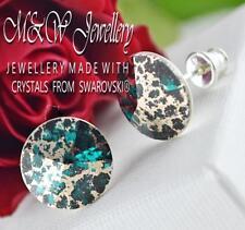 925 Silver Stud Earrings Crystals From Swarovski® RIVOLI - Emerald Rose Patina