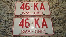 1965 Ohio License Plate Pair