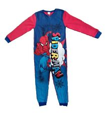 Boys Spiderman One Piece All In One Micro Fleece Pyjamas 3 4 5 6 7 8 9 10 Years