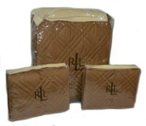 RALPH LAUREN Regent Cinnamon FULL/ QUEEN QUILT SHAMS SET NEW $685 Cotton Sateen