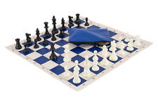 Basic Chess Set Combination - Single Weighted - Navy Blue Board / Bag