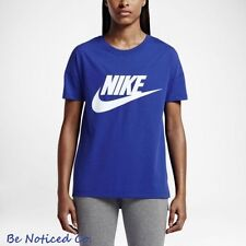 360fcdb77d7aa7 Nike Signal Logo Women s T-Shirt M Blue White Gym Casual Training Running  New