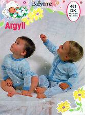 "~ Argyll Baby Knitting Pattern For Pretty Cardigan & Jumper ~ 16"" ~ 22"" ~"
