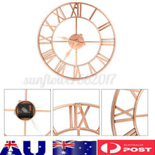 40CM Rose Gold Face Metal Skeleton Wall Clock Roman Numerals Big Large For Home*