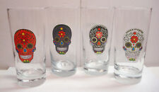 Sugar Skull - Day of the Dead - 14oz Hi-Ball - Set of 4 - Dia de los Muertos