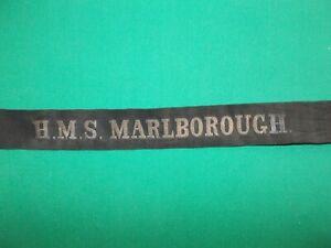 Genuine Pre WW2 Royal Navy Cap Tally HMS MARLBOROUGH dot Seaman Hat Band Ribbon