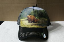 BEAR FOREST MOUNTAIN OUTDOOR SNAPBACK BASEBALL CAP HAT MESH BACK ( BLACK BILL )