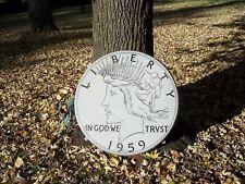 "Antique 30"" Porcelain Over Steel Mercury Dime Store Sign, 1959 Liberty Dime"