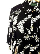Scandia Woods Floral Hawaiian Shirt Men's Black White Short Sleeve Size Large