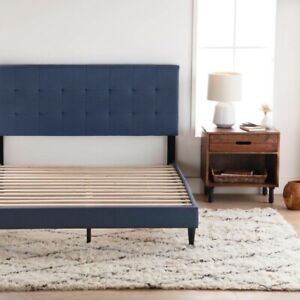 Classic Deluxe Linen Low Profile Platform Bed Frame with Tufted Headboard Design