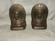 Antique Solid Cast Bronze Bookends Indian Chief Mission Arts & Crafts