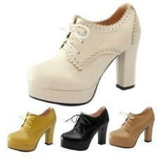 Ladies Work Casual Oxfords Work High Block Heel Lace Up Outdoor Platform Shoes D