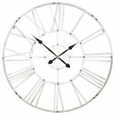 Large 92cm Vintage Silver Effect Metal Roman Numeral Wall Clock Limited Qty