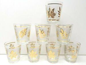 Vintage Libby\u2019s Frosted Gold Coin 2-Shot Glasses Set of 5