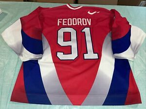 Adult 52 SERGEI FEDOROV 1996 1997 TEAM RUSSIA NIKE Semi Pro Jersey Red Clean