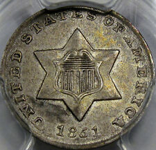 1851 Silver Three Cent Piece Choice AU PCGS AU-55... 100% Original and So NICE!