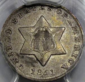1851 Silver Three Cent Piece Choice AU PCGS AU-55... 100% Original and So NICE!