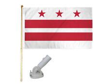 New listing 5' Wooden Flag Pole Kit W/ Nylon White Bracket 3x5 Washington Dc Polyester Flag