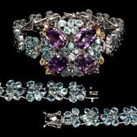 Oval 14x10mm Purple Amethyst Blue Zircon Sapphire 925 Sterling Silver Bracelet