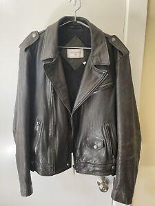 Pristine Vintage Chevignon black leather motorcycle jacket L Large