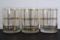 Vintage Georges Briard Set of 3 Window Pane Pattern Drinking Glass 22KT Gold