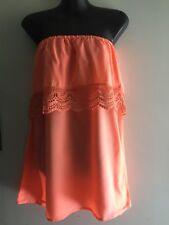 Orange Lace Trim Strapless Mini Dress Ladies Size 8 - 10