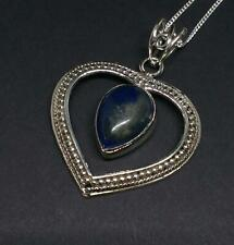 925 Sterling Silver Blue Lapis Lazuli Heart Pendant Necklace Jewellery Gift