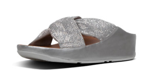 Fitflop Twiss Crystal Silver Slide Sandal Women's sizes 5-11/NEW!!!