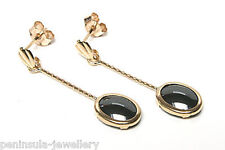 9ct Gold Hematite Oval Drop Earrings Made in UK Gift Boxed Christmas Gift
