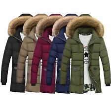 Men's Winter Warm Coat Parka Hooded Fur Collar Jacket Fashion Overcoat Outwear