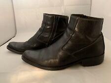 Robert Wayne Men's Black Leather Ankle Boots Size 10M