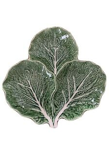 """BORDALLO Pinheiro Green CABBAGE 14"""" Three Leaf Serving Platter Made in PORTUGAL"""